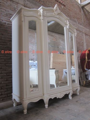 Bespoke Large Armoire Wardrobe With Mirrors Rococo Solid Mahogany Wood White Mirrored Armoire Mirrored Wardrobe