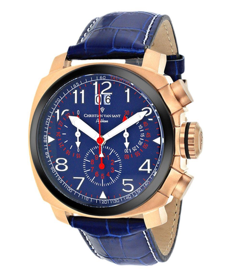 Sharp. Christian Van Sant Blue Grand Python Leather-Strap Watch by Christian Van Sant #zulilyfinds