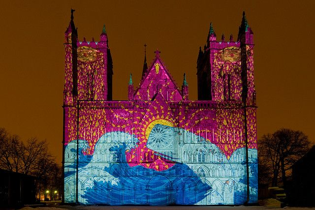 Nidaros Cathedral in Trondheim, Norway  Paint My House, 25 February 2009 © Arve Johnsen . I would have loved to see this