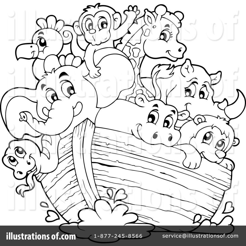 Dorable La Página Para Colorear Noah Ark Viñeta - Ideas Creativas ...