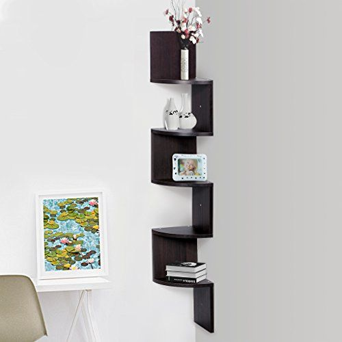 Finether 5tier Zig Zag Floating Wall Corner Shelf Bedroom Wall Mounted Shelving Book Storage Display Orga Corner Shelves Wall Mounted Shelves Shelves