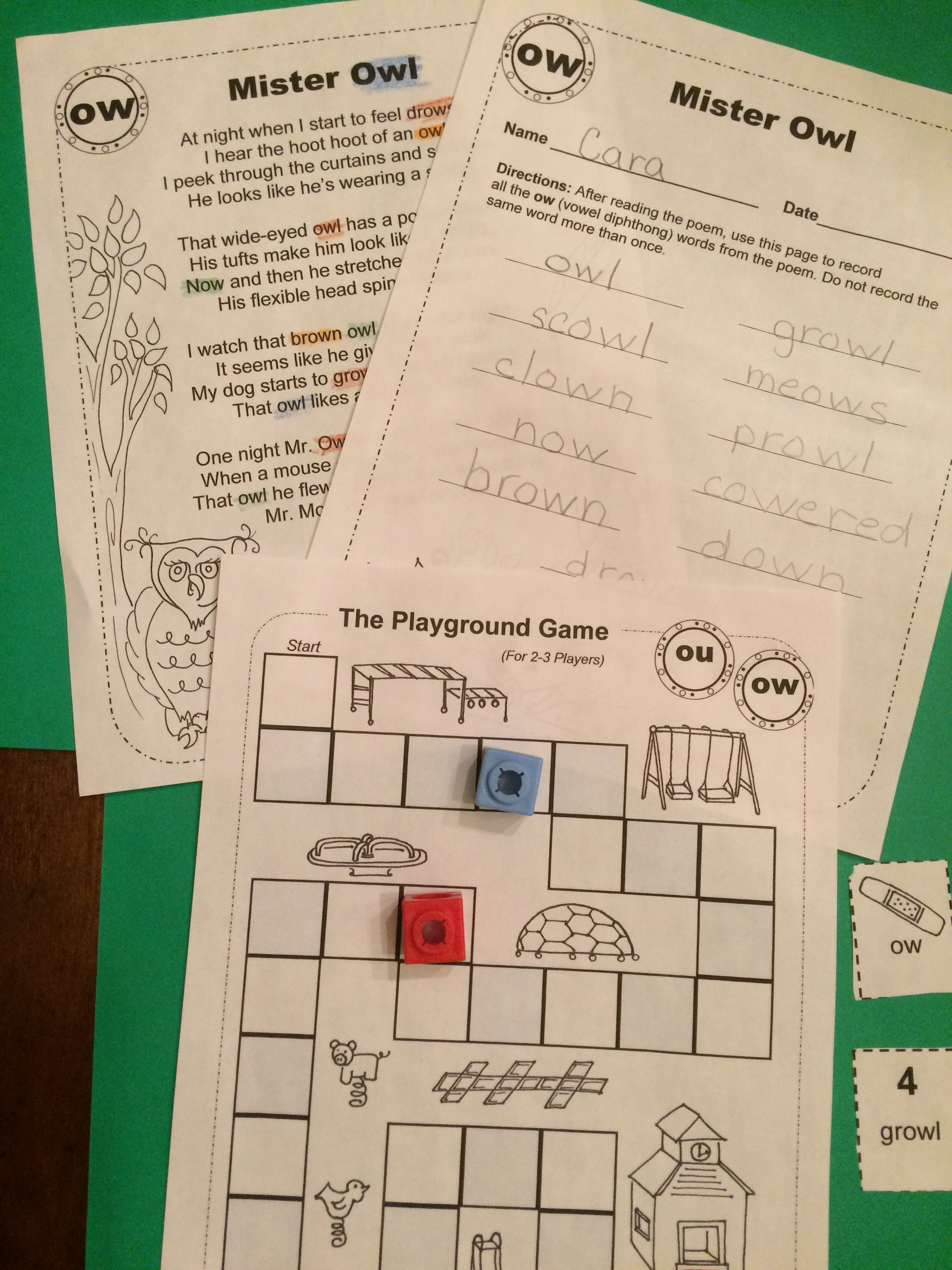 For 1st 3rd Grades Poems Worksheets And Game Boards A Fun Way To Practice Vowel Diphthongs Vowel Diphthongs Diphthongs Vowel