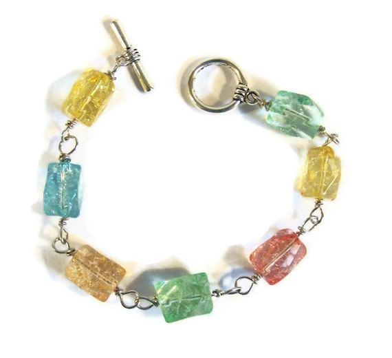 Wire Wrapped Chunky Crackle Bead Bracelet by #dteam whatsingramasdrawers, $12.00