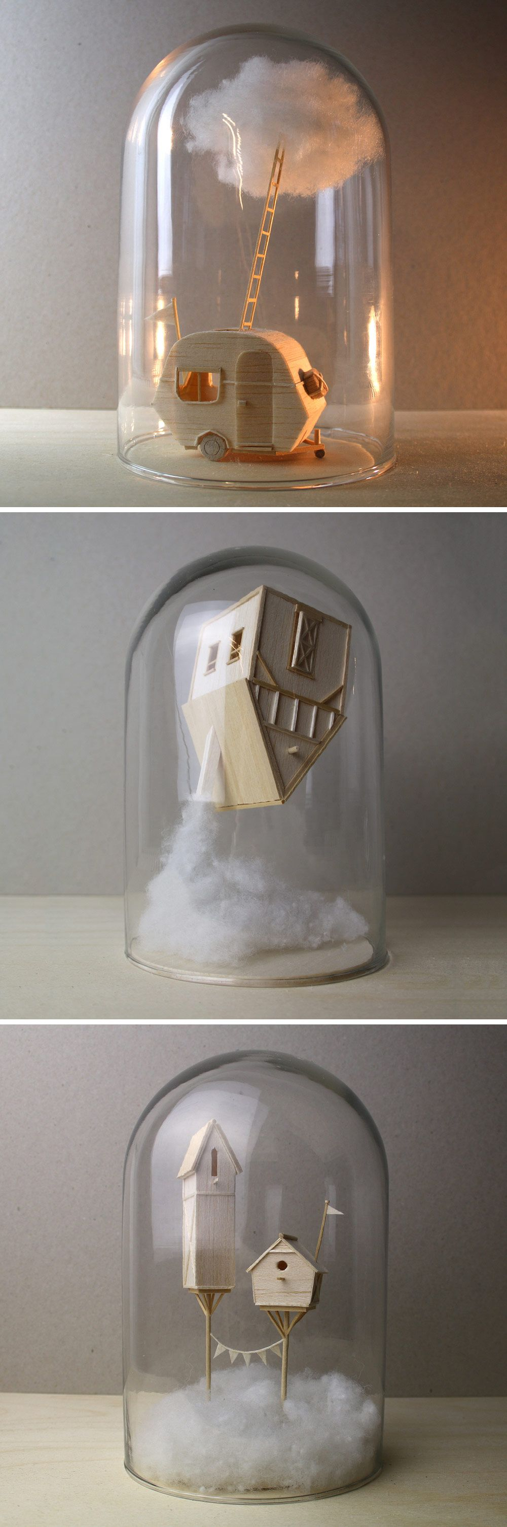 Miniature narrativebased sculptures created from balsa wood by vera