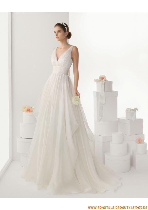 V-auschnitt preiswert Schlichtes Brautkleid 2013 aus Chiffon ...