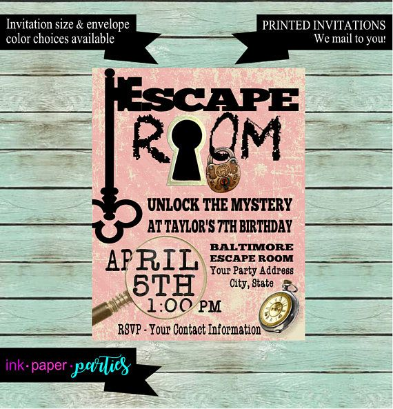 Escape room mystery puzzle birthday party invitations invites escape room mystery puzzle birthday party invitations invites personalized custom we print and mail to you party invitations birthdays and kids stopboris Gallery