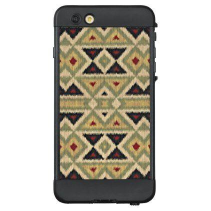 #rustic - #Ochre Yellow Red Olive Green Ethnic Ikat Mosaic LifeProof® NÜÜD® iPhone 6 Plus Case