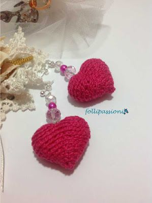 "Follipassioni tutorial crochet orecchini ""Valentine's Heart"""