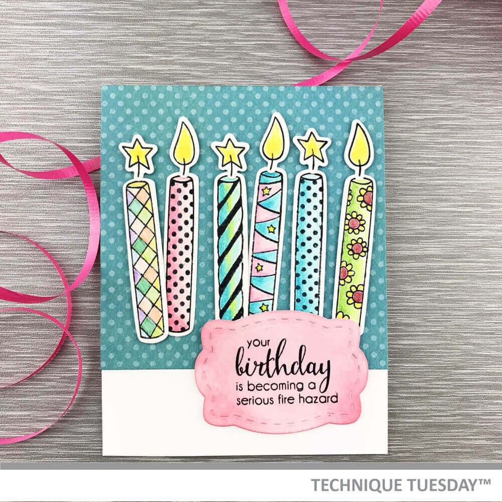 Birthday Candles Fire Hazard Handmade Card At Technique Tuesday Candle Die Cut From