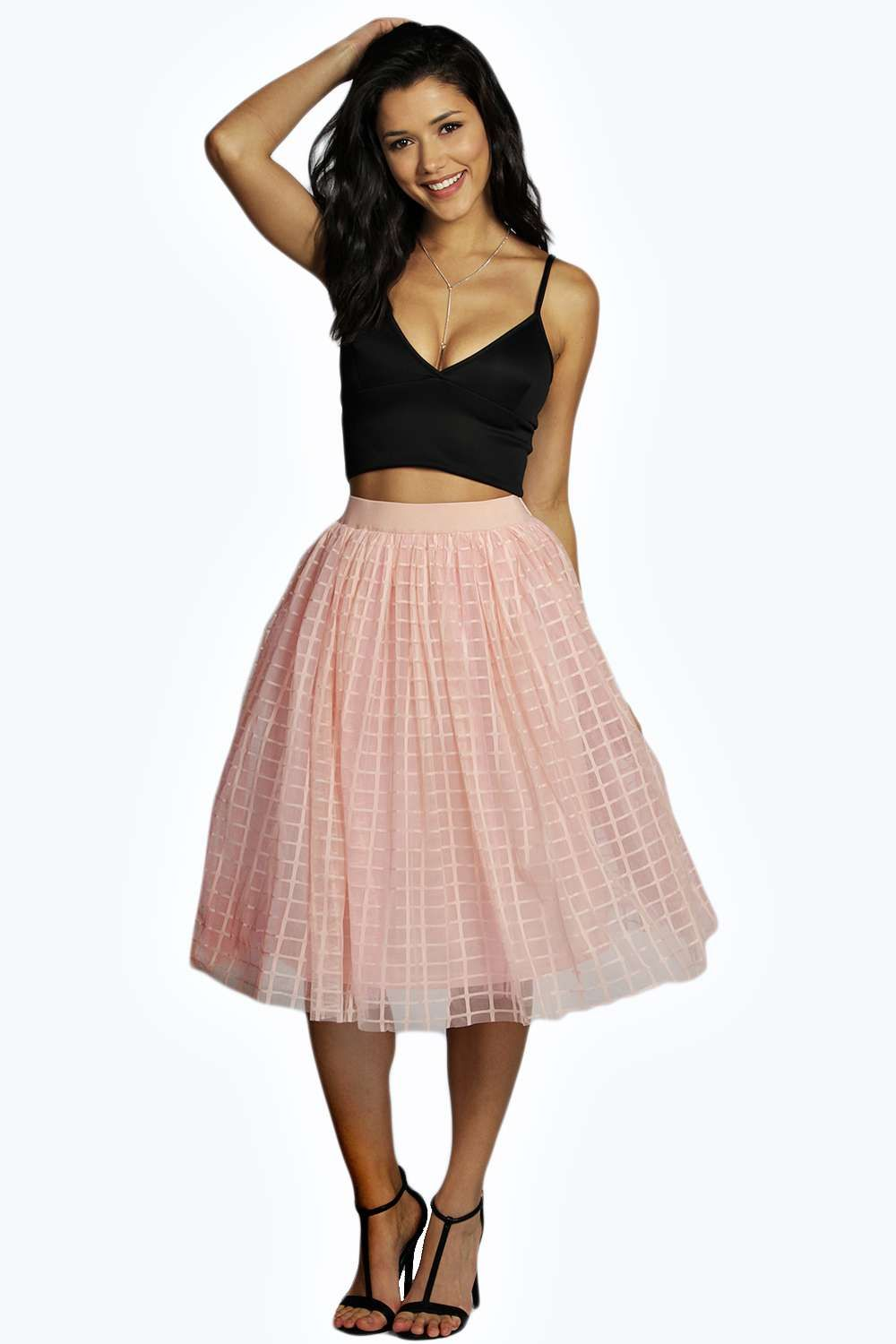 d3375a2a55 Boutique Marin Grid Tulle Full Midi Skirt | Clothing/ Accessories ...