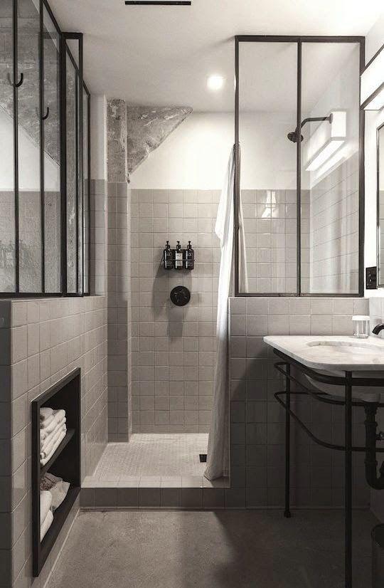 Black And White Bathroom, Black Metal Framed Glass Dividers, Ace Hotel LA