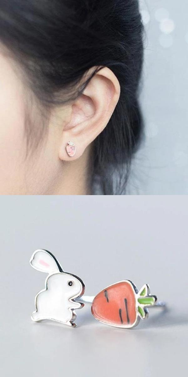 925 Sterling Silver 3D Easter Rabbit Bunny Earrings Studs Minimalist UK