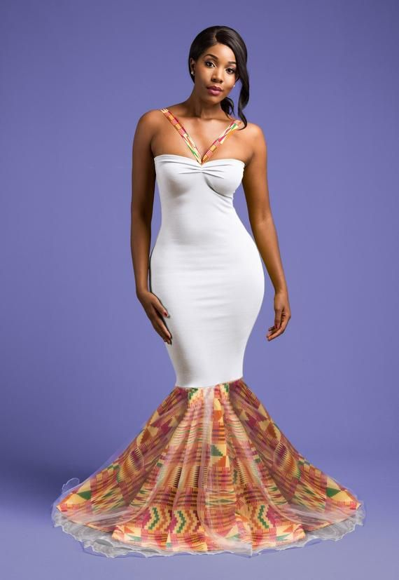 African wedding dress, African print bridesmaid dress, Evening Kente Dress, African print mermaid we #africanprintdresses