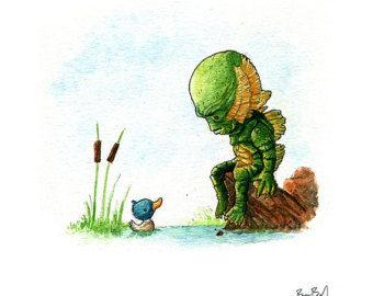 Search for creature etsy. The Creature From The Black Lagoon Watercolor Print