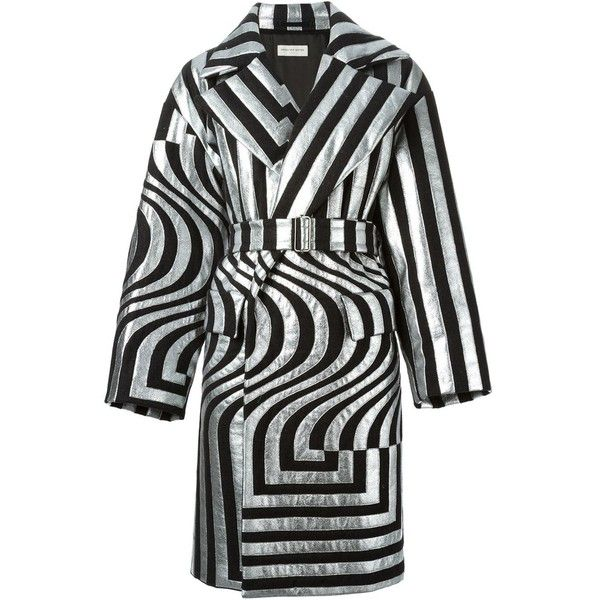 Dries Van Noten Runway Rhonda Silver Oversized Coat (15.475 ARS) ❤ liked on Polyvore featuring outerwear, coats, jackets, dries van noten, silver, oversized wrap coat, striped coat, metallic coat and oversized coat