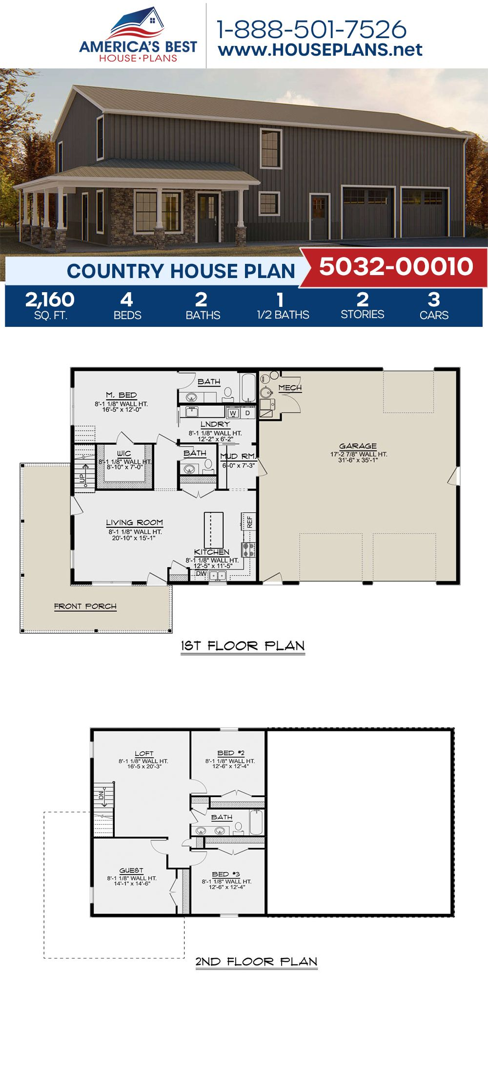 House Plan 5032 00010 Farmhouse Plan 2 160 Square Feet 4 Bedrooms 2 5 Bathrooms Barn House Plans Barn Homes Floor Plans Pole Barn House Plans