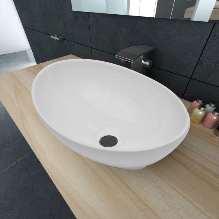 Oval Bathroom Sink Basin White Washroom Ceramic Vessel Counter Waterfall Bowl Sink Countertop Ceramic Bathroom Sink Sink