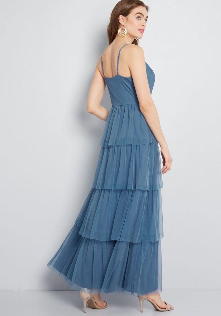 b0e86f68aad ModCloth Heavenly Haute Tiered Maxi Dress Slate