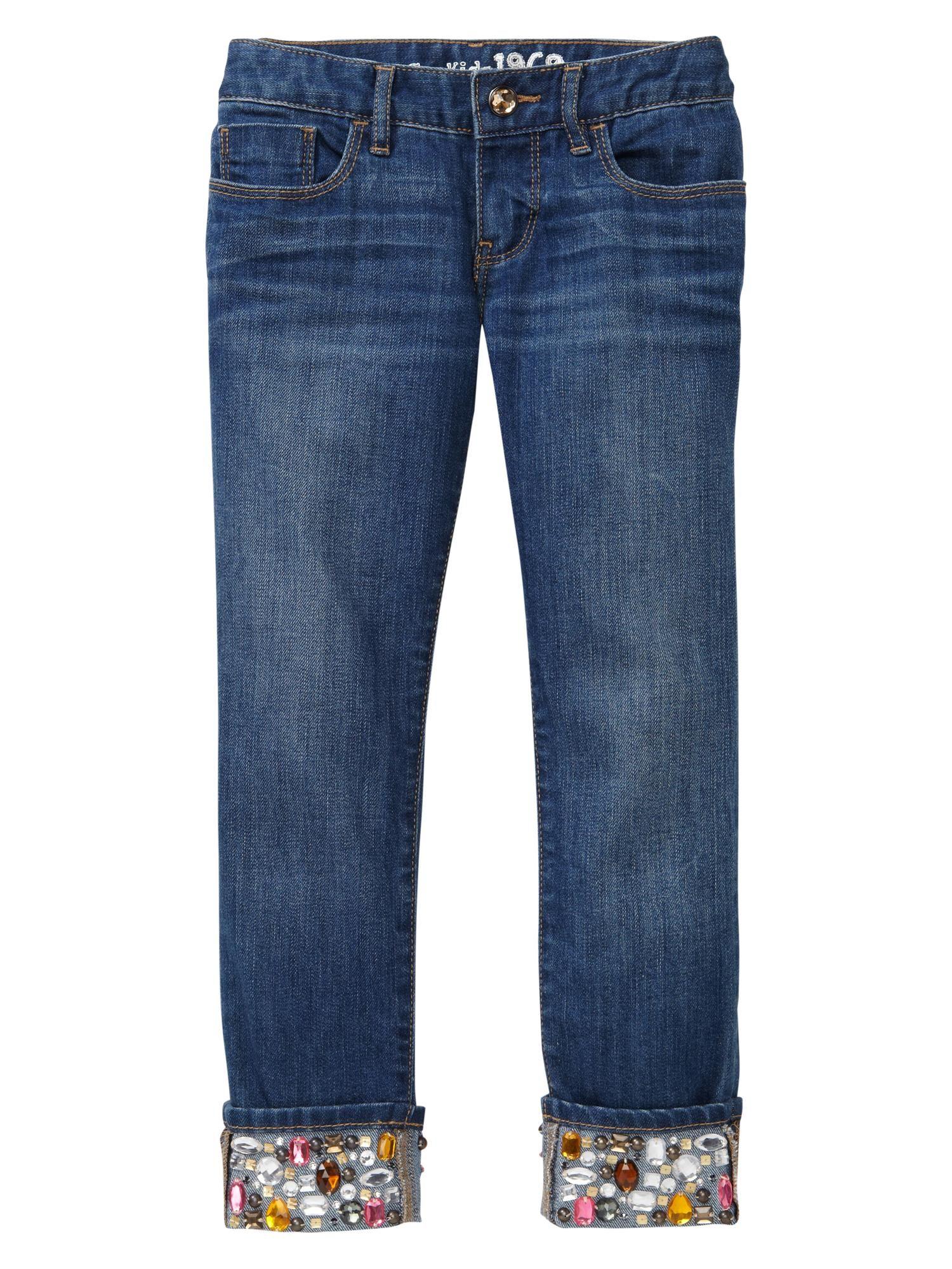 jeans com bordado pedra