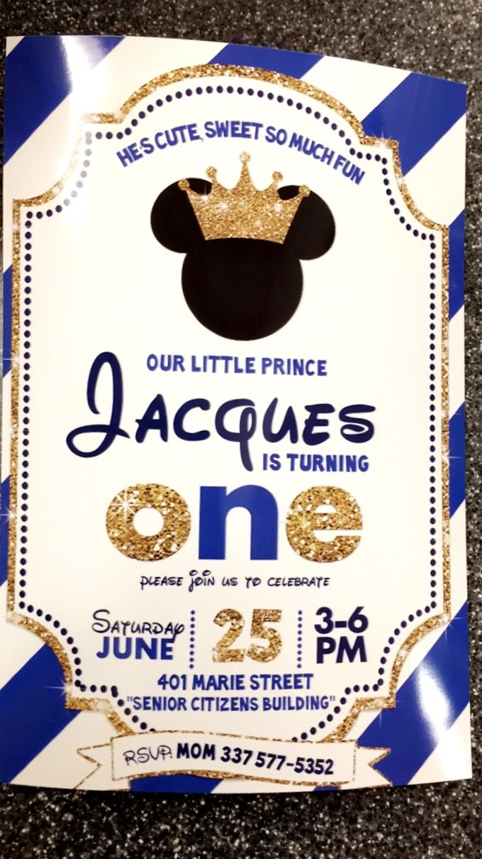Royal Prince Mickey birthday invitation … | Pinteres…
