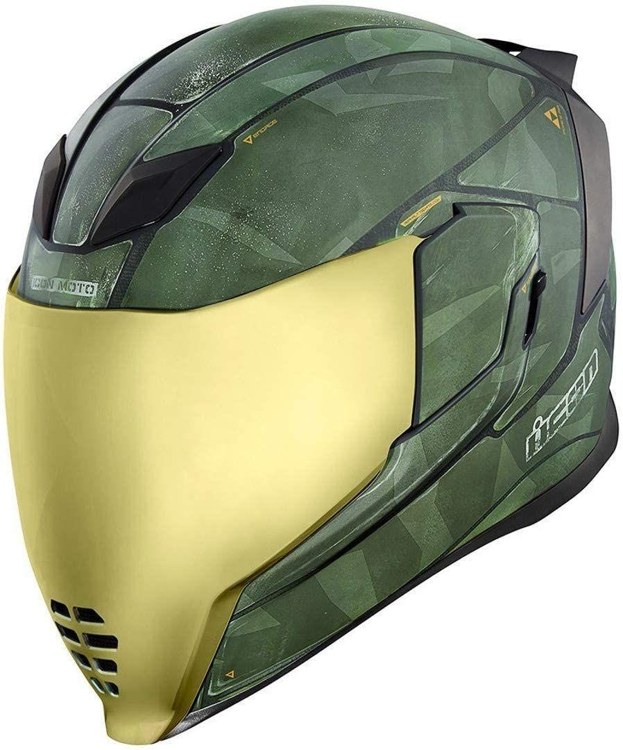 Icon, folding helmet, Airflite Battlescar 2, in green