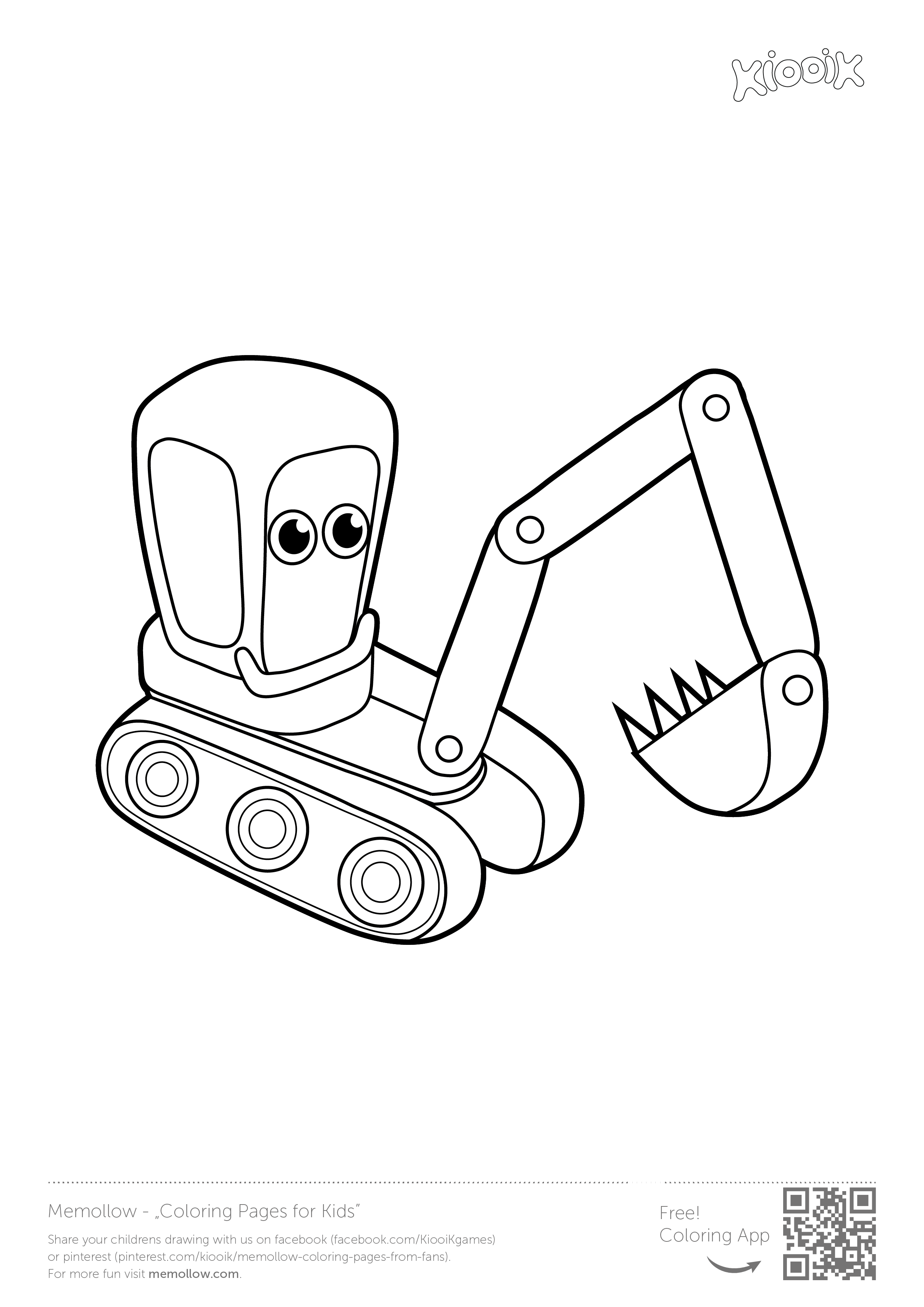 """""""Excavator"""" memollow to print coloring pages for kids"""