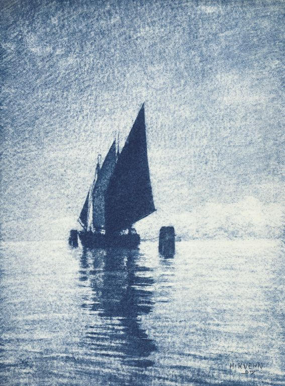 [Moored Sailboat]; Heinrich Kühn (Austrian, born Germany, 1866 - 1944); 1907; Gum bichromate print; 38.4 x 28.6 cm (15 1/8 x 11 1/4 in.); 84.XM.829.9