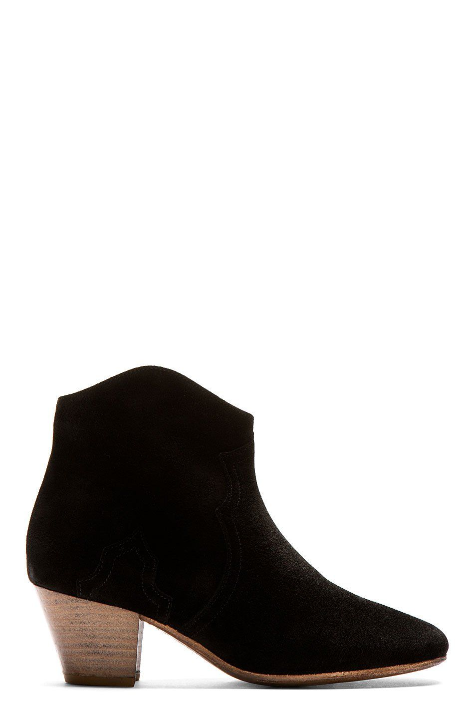 Isabel Marant Black Suede Dicker Ankle Boots on Vein - getVein.com