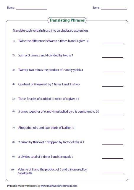 14++ Writing algebraic expressions worksheet pdf Latest News