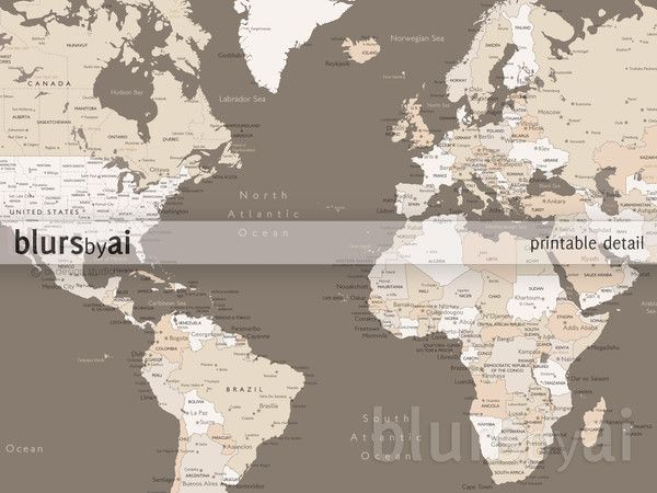 Custom quote color and size world map with cities capitals custom quote color and size world map with cities capitals countries us states canadian provinces oceans labeled gumiabroncs Gallery