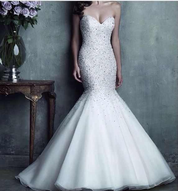 White strapless mermaid wedding dress with bling and tulle skirt ...