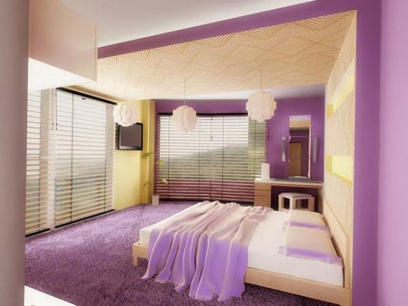 Comfortable Soft Purple Yellow White Bedroom Decoration With Transpa Windows