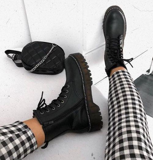 Combat boots fashion trends | Черные ботильоны, Модные