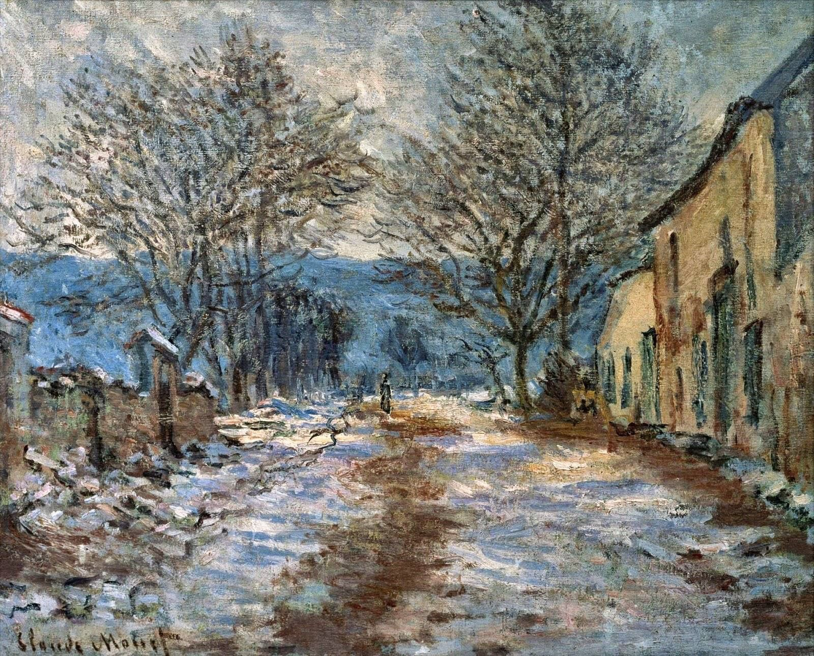 Monet Pintor Cuadros Claude Monet French 1840 1926 Snow Effect At Limetz