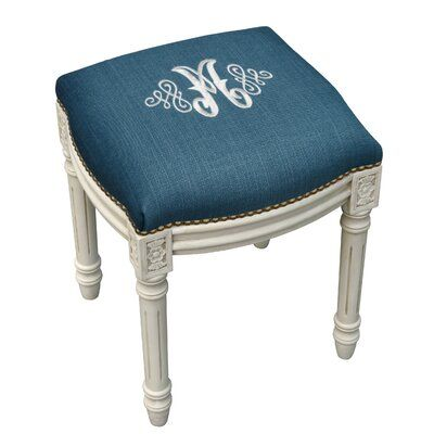 Pleasing House Of Hampton Lombardi Embroidered Monogram Vanity Stool Creativecarmelina Interior Chair Design Creativecarmelinacom