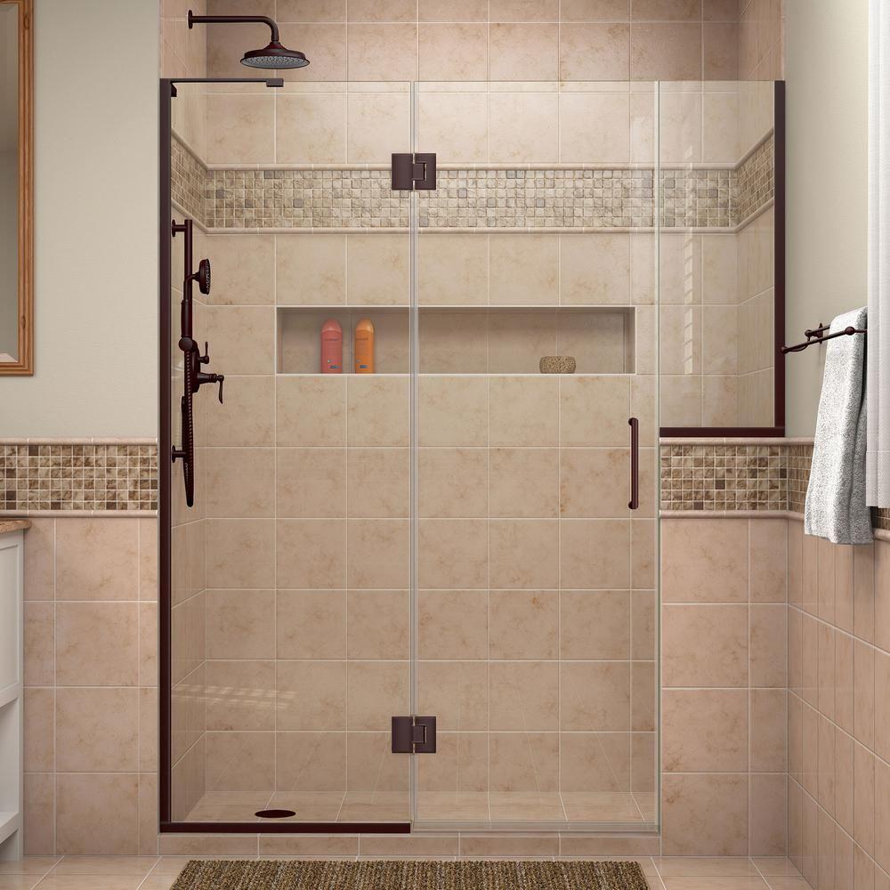 Dreamline Unidoor X 72 To 72 5 In X 72 In Frameless Hinged Shower Door In Oil Rubbed Bronze D3242434l 06 Frameless Shower Doors Shower Doors Frameless Shower