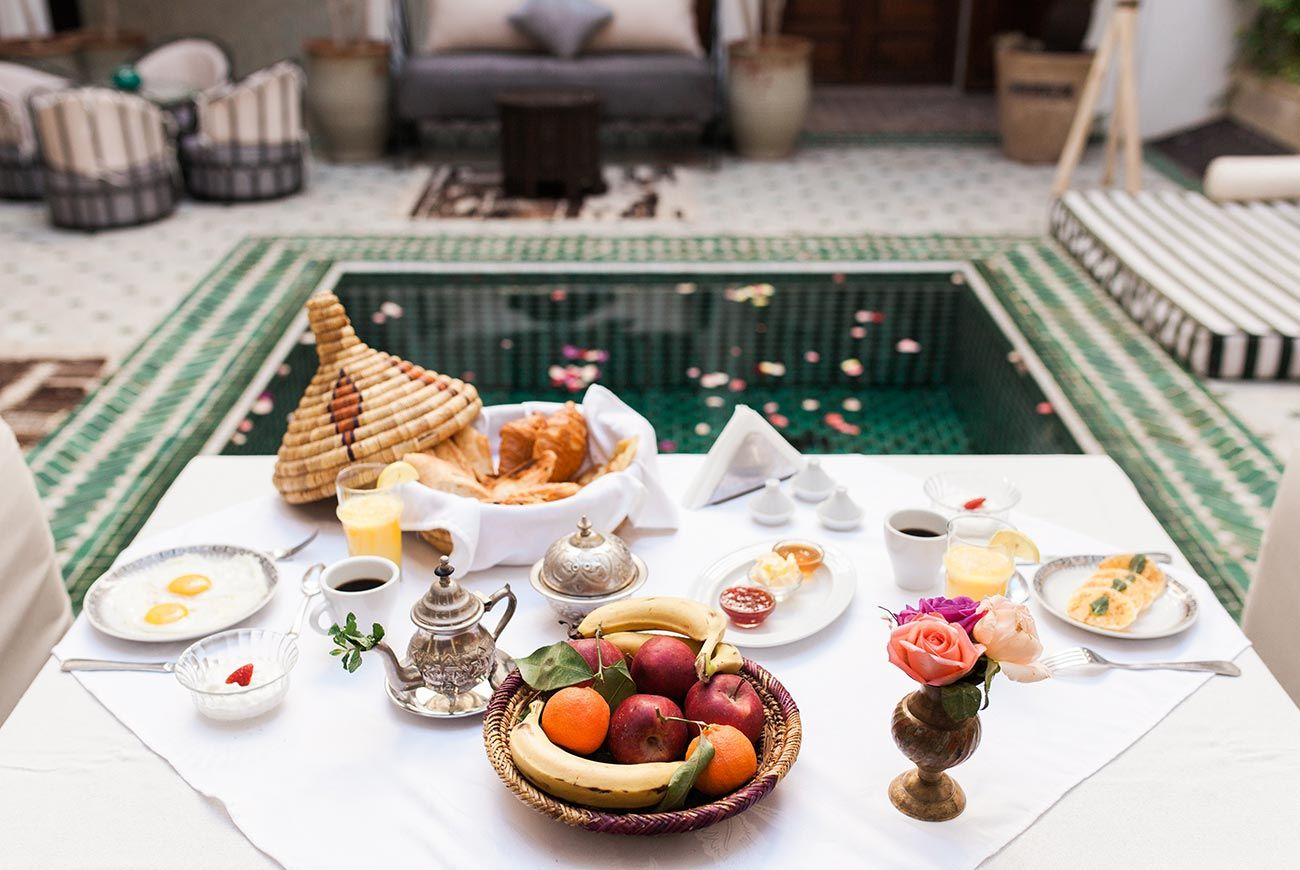 yummy breakfast at Riad Yasmine, Marrakech, Morocco