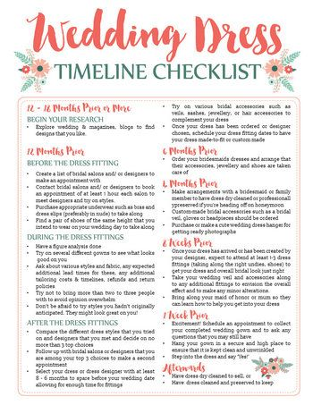 Wedding Dress Planning Timeline {Printable Download} Printable - wedding checklist template