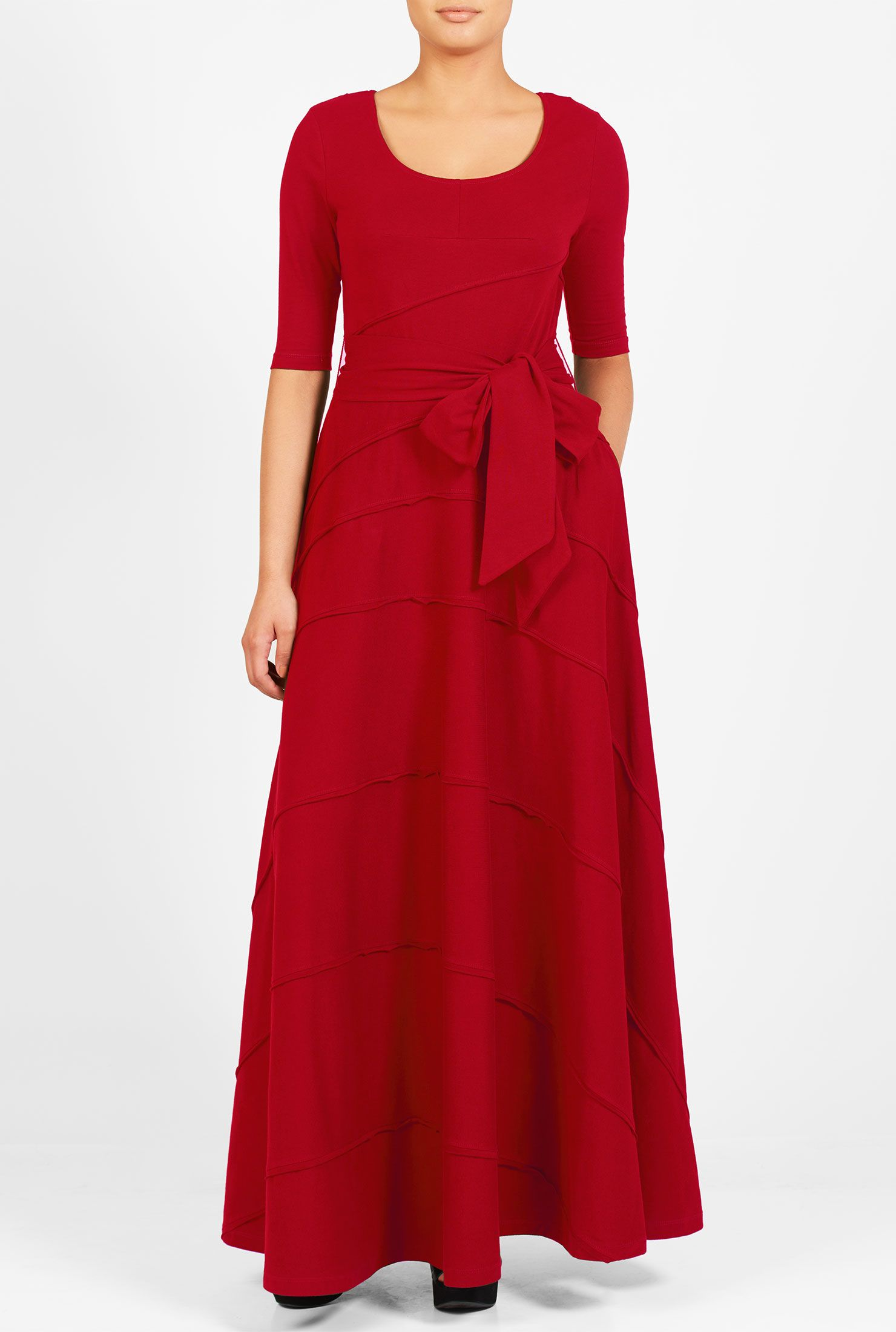 Elbow Length Sleeve Maxi Dresses Full Length Dresses Jersey Knit