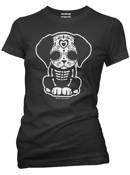 "Save on Women's ""Day Of The Dead Sugar Skull Puppy"" Tee by Aesop Originals (Black) at InkedShop.com, and get coupon codes and deals everyday!"