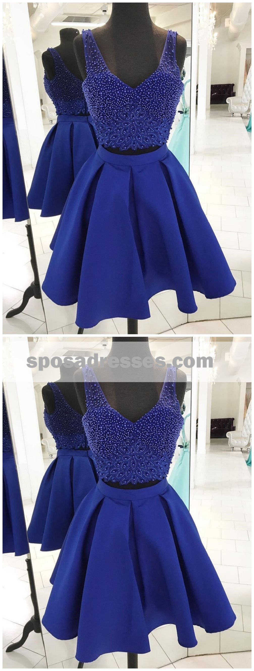 V neck beaded royal blue two piece homecoming dresses cm