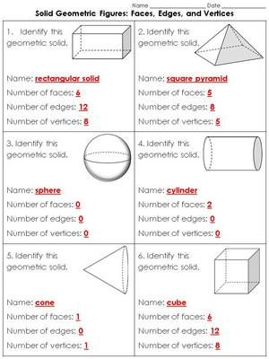 Geometric Figures: 3-D Solid Figures Practice Sheets #1