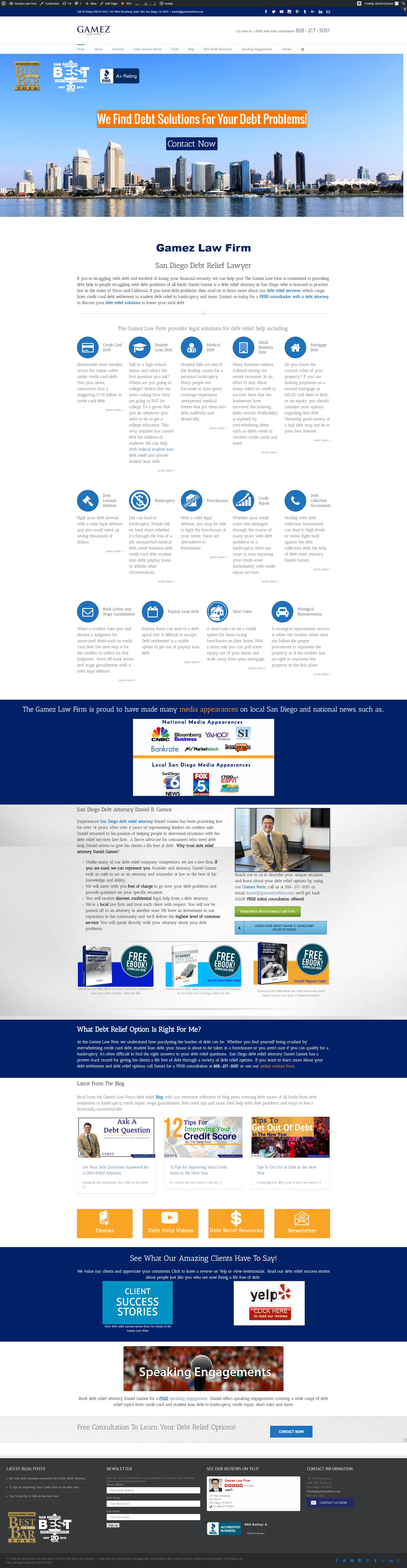 San Diego Debt Relief Law Firm Gamez Law Firm Website Design Homepage Law Firm Website Design Law Firm Website Digital Marketing Services