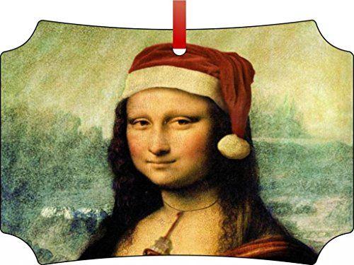 Leonardo Da Vincis Mona Lisawearing A Santa Hatberlin Aluminum Christmas Ornament With A Red Satin Ribbonholiday Han Mona Lisa Parody Mona Lisa Mona Lisa Smile