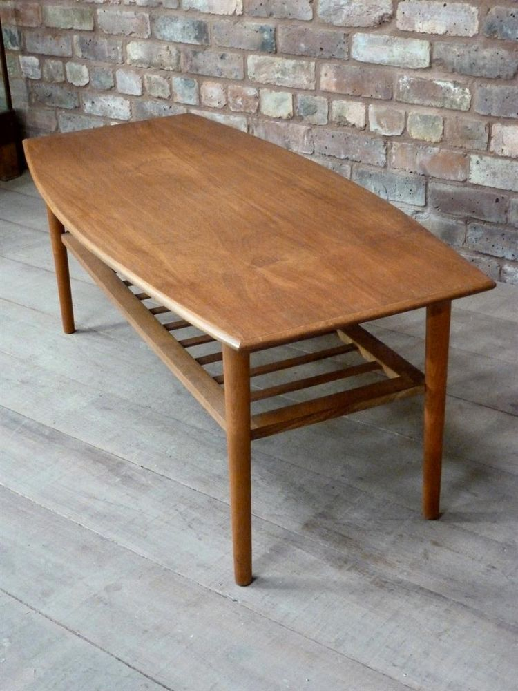 High End Mid Century Teak Coffee Table With Magazine Rack Parker Retro Era
