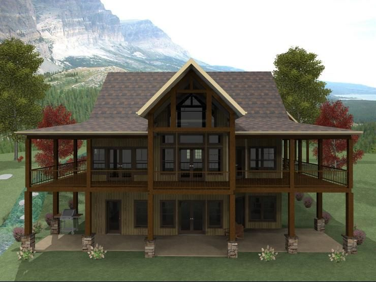 3 Bedroom Open Floor Plan With Wraparound Porch And Basement Basement House Plans House With Porch Lakefront Homes