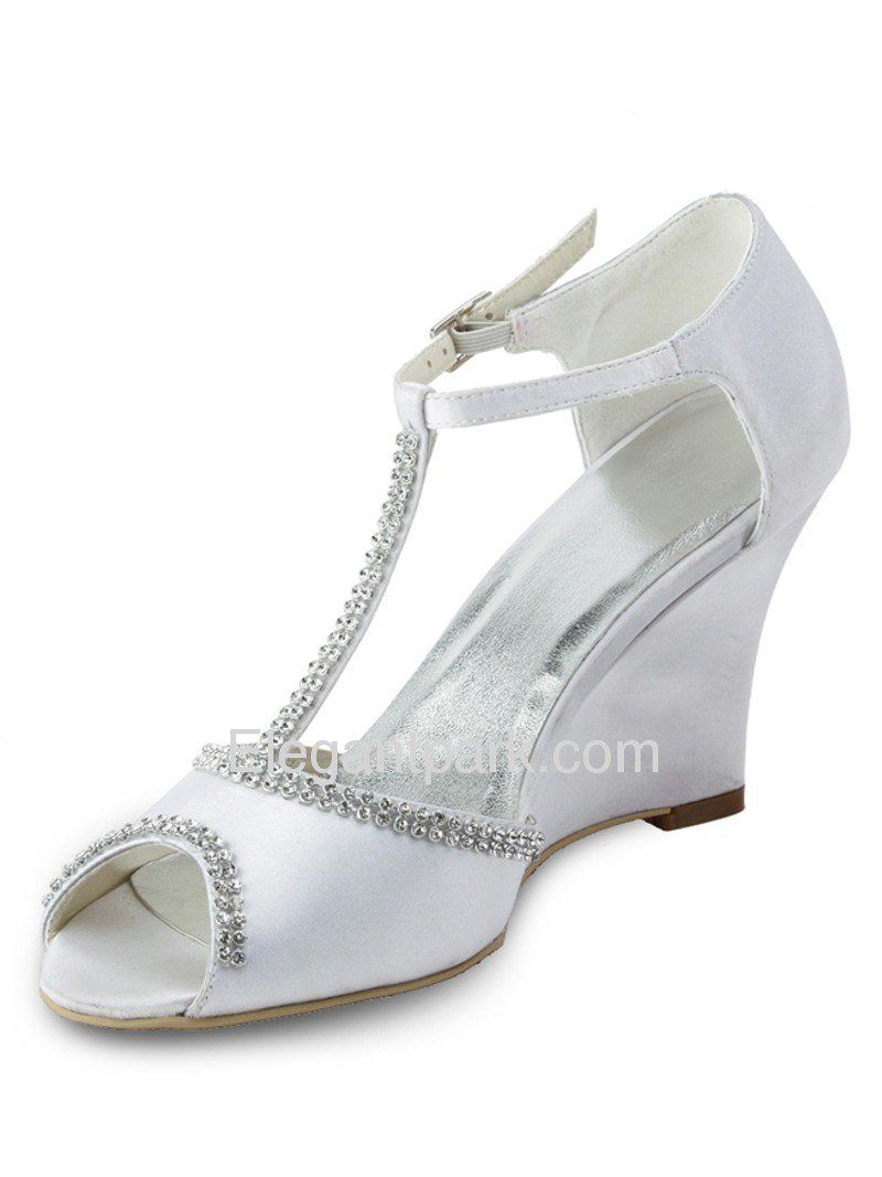 Open toe wedge beading buckle satin wedding elegant footwear