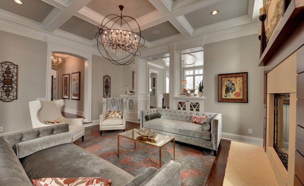 Benjamin Moore Revere Pewter Traditional Living Room Decorating Ideas Minneapolis Art Beams Chandelier Design Dining Fireplace Grey Modern
