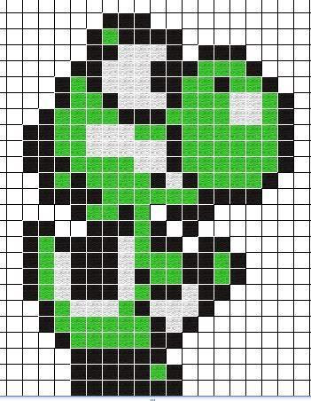Yoshi Pixelart Blueprint Minecraft Pixel Art Pixel Art