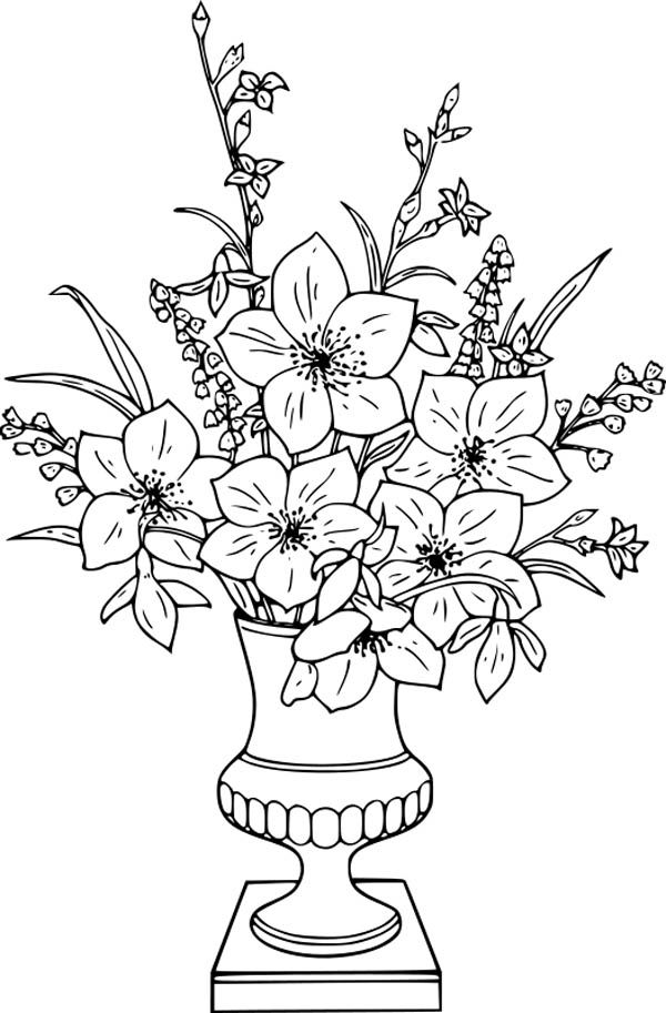 Flower Bouquet, : Lily Flower Bouquet in Vase Coloring